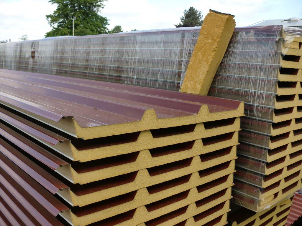 30 88 m sandwichplatten dach 40mm rotbraun sandwichpaneele dachplatten ebay. Black Bedroom Furniture Sets. Home Design Ideas
