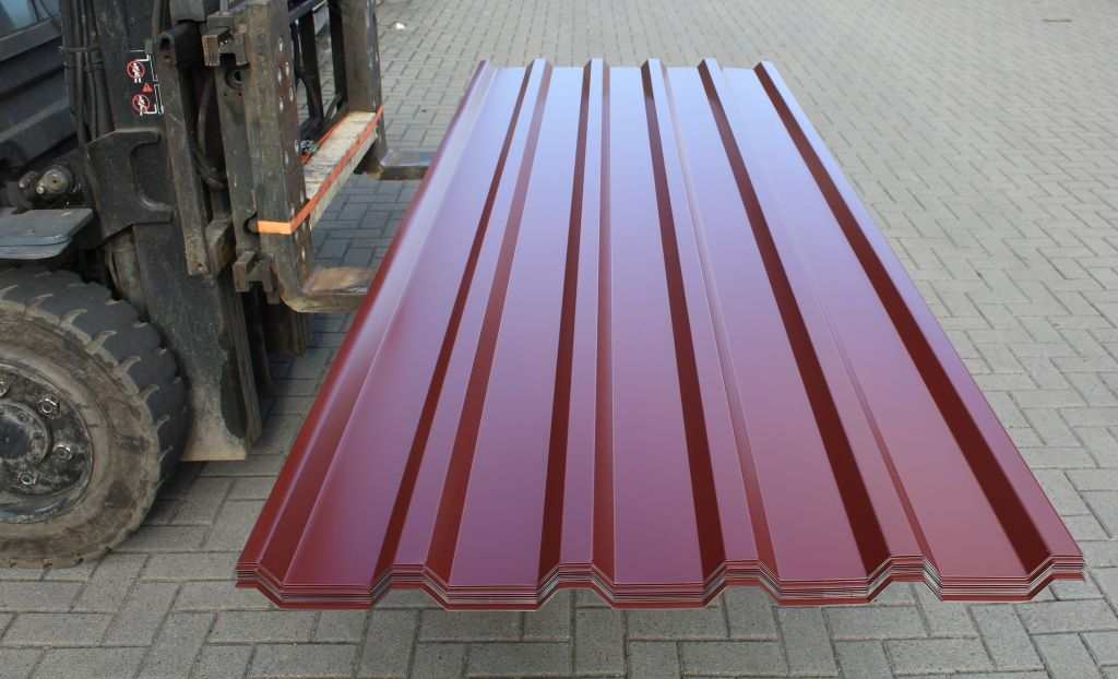 9 64 qm 12x2 50m trapezblech dachplatten dachblech profil 35 207 rotbraun ebay. Black Bedroom Furniture Sets. Home Design Ideas