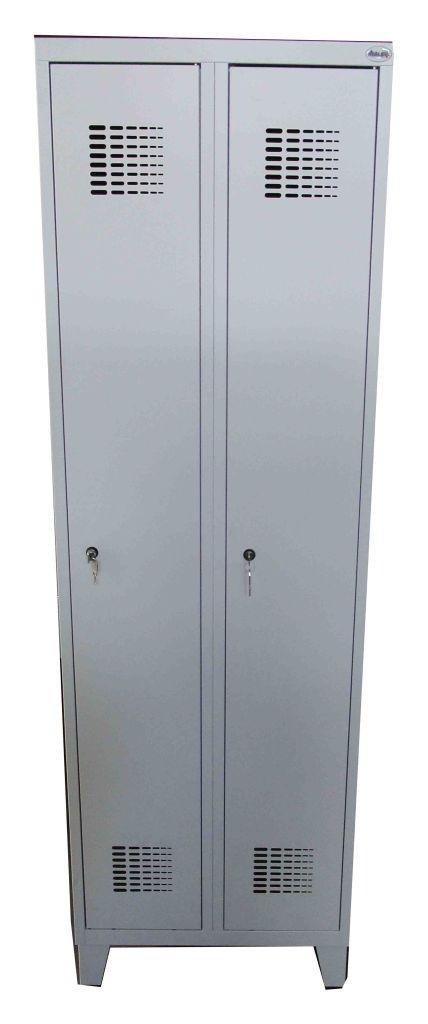 1x spind schlie schrank garderobenschrank 1950x600x500 mm grau 2 t ren ebay. Black Bedroom Furniture Sets. Home Design Ideas