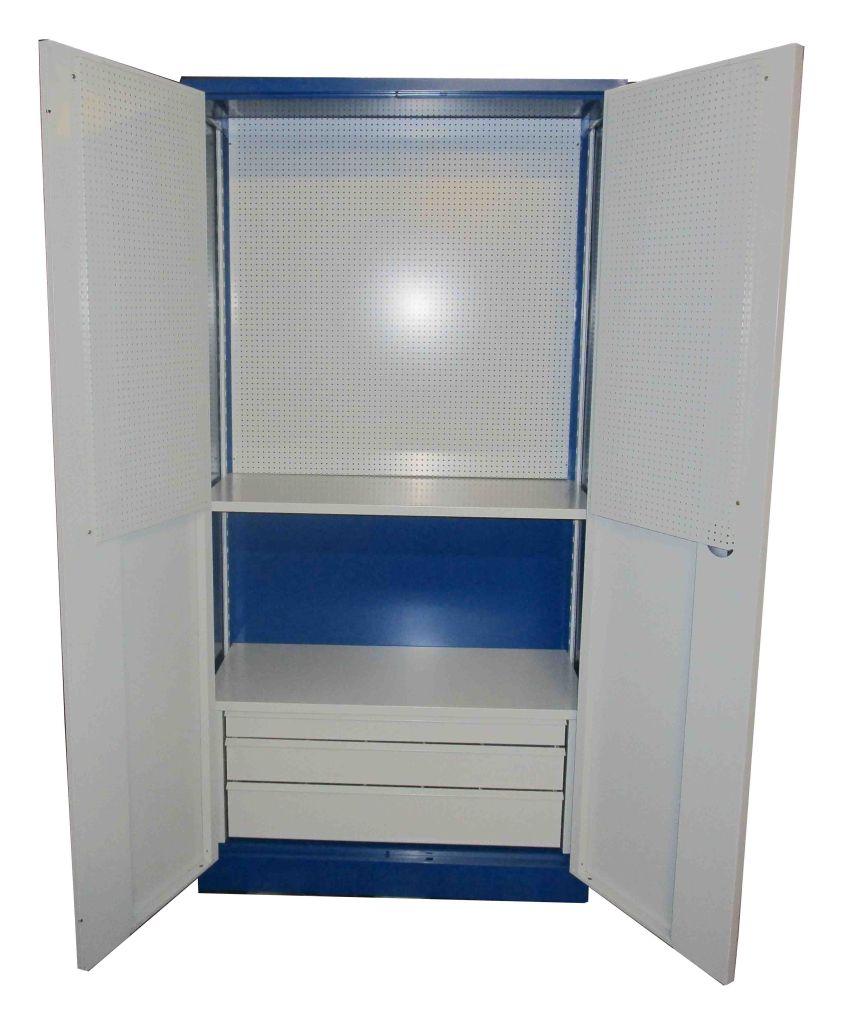 1x stahlschrank werkstattschrank 200x100x45cm 2 einlegeb den 3 schubladen ebay. Black Bedroom Furniture Sets. Home Design Ideas